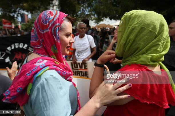 People gather at Aotea Square to join a march against racism on March 24 2019 in Auckland New Zealand 50 people were killed and dozens were injured...