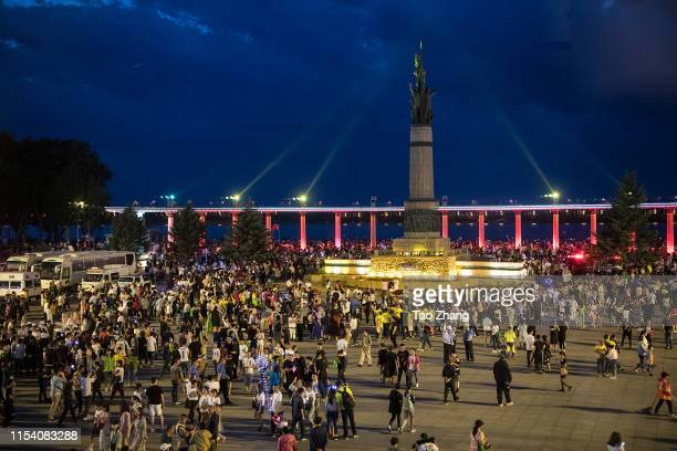 People gather at central street to celebrate upcoming Duanwu Festival in Harbin city of China on June 62019The Dragon Boat Festival also named Duanwu...