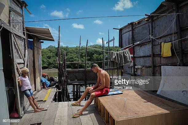 People gather at houses on stilts over a mangrove swamp on January 28 2016 in Recife Pernambuco state Brazil Health officials believe as many as...