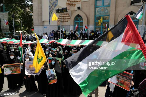 People gather at Palestinian Square to stage a demonstration in support of Palestinians in Tehran, Iran on May 18, 2021.