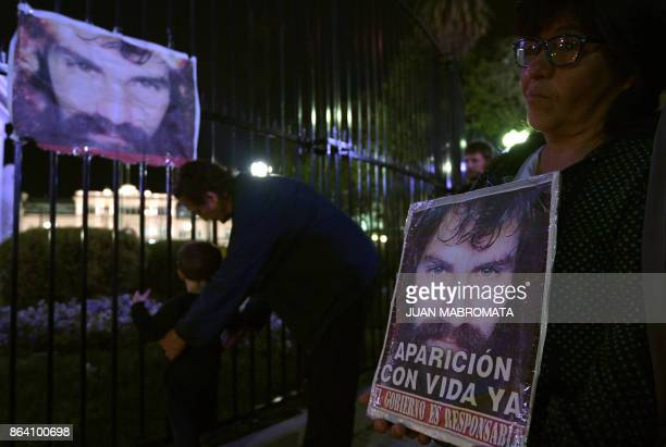 People gather at Plaza de Mayo square to pay tribute to Santiago Maldonado disappeared on August 1st during a Mapuche protest in Chubut province...