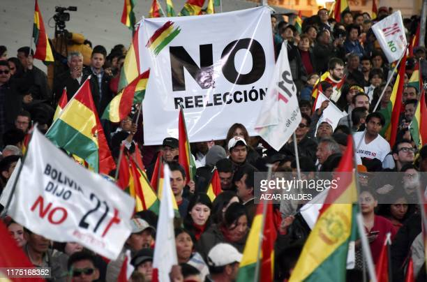 People gather at San Francisco square in downtown La Paz on October 10 demanding the result of the 2016 referendum be respected, ten days before...