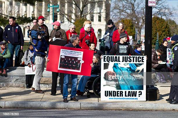 People gather at SCOTUS during the DOMA and Prop 8 hearing on March 2013.