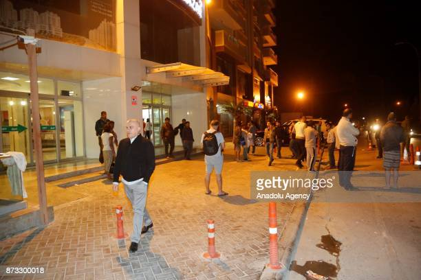 People gather at street after a 72 magnitude earthquake hit northern Iraq in Erbil Iraq on November 12 2017