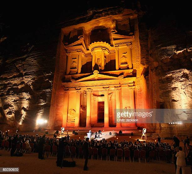People gather at the ancient ruins of Petra for a Memorial service to celebrate the life of the opera singer Luciano Pavarotti as part of the Salute...