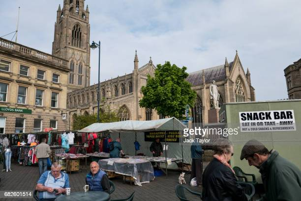 People gather at the Boston Market in the town centre on May 13 2017 in Boston United Kingdom The town of Boston in Lincolnshire voted with a 75%...