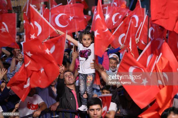 People gather at the Dirilis Square to attend July 15 Democracy and National Unity Day's events to mark July 15 defeated coup's 2nd anniversary in...