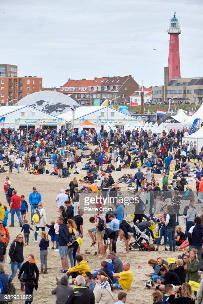 People gather at The Hague beach for the end of the Ocean Race on June 24 2018 in The Hague Netherlands