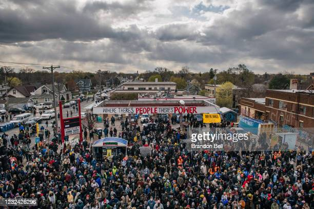 People gather at the intersection of 38th Street and Chicago Avenue to celebrate the guilty verdict in the Derek Chauvin trial on April 20, 2021 in...
