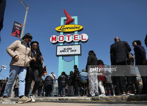 People gather at the Lorraine Motel where Dr Martin Luther King Jr was assassinated and is now part of the complex of the National Civil Rights...