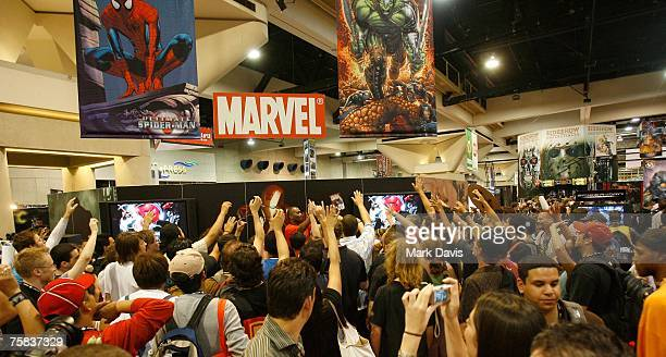 People gather at the Marvel booth at the 2007 Comic-Con held at the San Diego Convention Center July 27, 2007 in San Diego California.