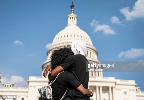 People gather at the US Capitol during a peaceful protest against police brutality on June 4 2020 in Washington DC Protests in cities throughout the...