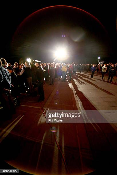 People gather at the War Memorial Museum for ANZAC Day commemorations on April 25 2014 in Auckland New Zealand Veterans dignitaries and members of...