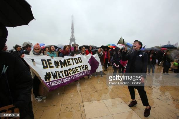 People gather at Trocadero facing the Eiffel Tower to rally for equality during the Women's March on January 21 2018 in Paris France