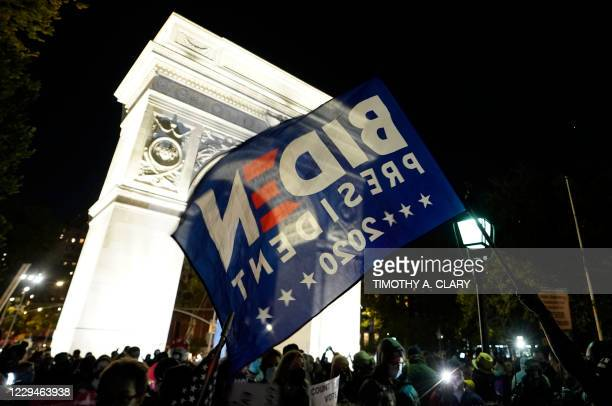 """People gather at Washington Square Park during a """"Count Every Vote"""" rally in New York onNovember 4, 2020. - Democratic presidential challenger Joe..."""