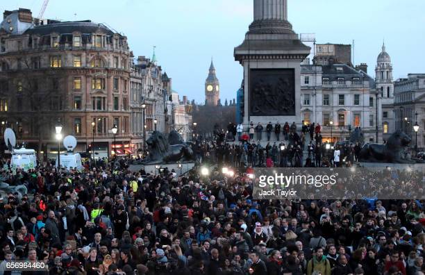 People gather during a candlelit vigil at Trafalgar Square on March 23 2017 in London England Four People were killed in Westminster London yesterday...