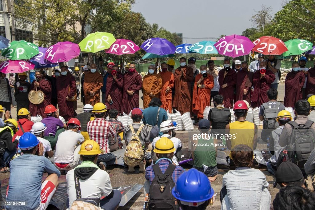 1 killed during anti-coup protest in Yangon : News Photo