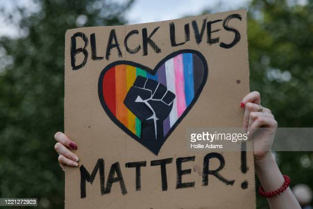 People gather during an antiracism protest in Hyde Park on June 20 2020 in London United Kingdom Black Lives Matter protests are continuing across...