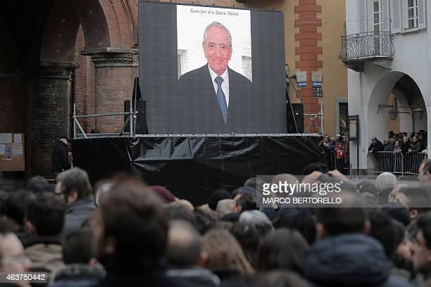 People gather during the funeral of Michele Ferrero on February 18 2015 in Alba northern Italy Billionaire Michele Ferrero who became Italy's richest...