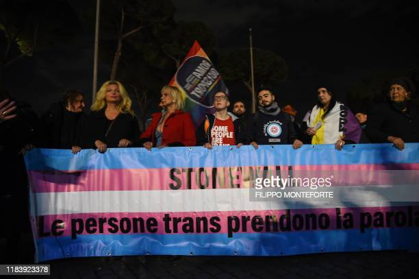 People gather during the Trans Freedom March against gender-based violence on November 22, 2019 in Rome, within the November 20 Transgender Day of...
