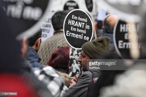 People gather for a commemoration ceremony within the 13th death anniversary of Hrant Dink former editorinchief of the bilingual TurkishArmenian...