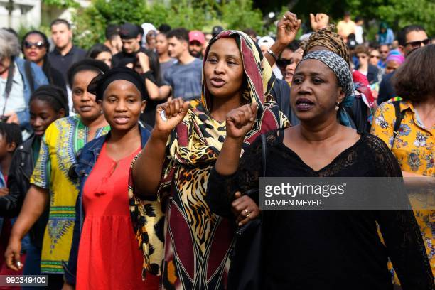 People gather for a commemorative march at the site where a man was shot dead by an officer during a police check in the Breil neighborhood of Nantes...