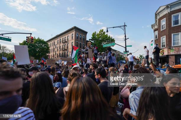People gather for a demonstration to mark Nakba Day on May 15, 2021 in New York City. The commemoration of Al Nakba, which literally translates to...