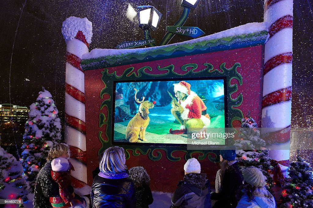 Lovely People Gather For A Festive High Definition Screening Of The Grinch In A  Giant Snow Globe