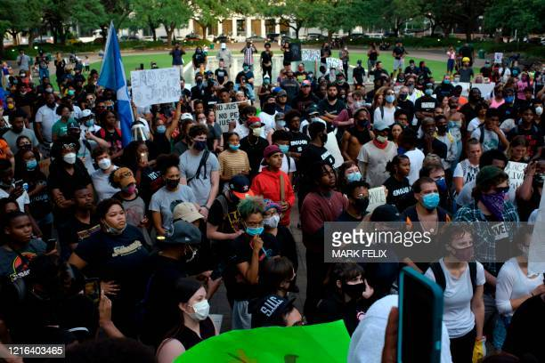 People gather for a Justice for George Floyd event in Houston Texas on May 30 after George Floyd an unarmed black died while being arrested and...