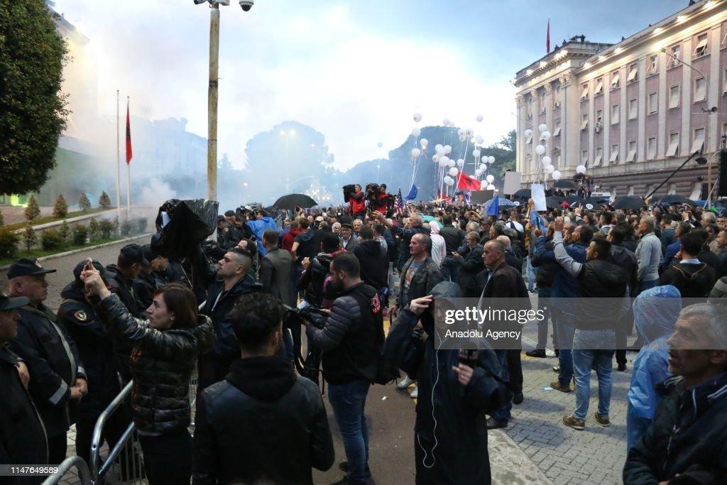 Anti-government protest in Albania : News Photo
