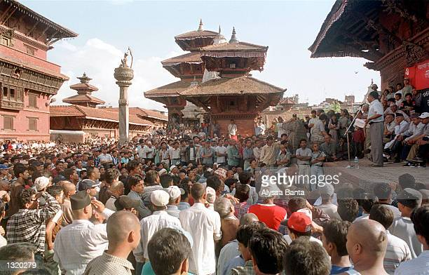 People gather for a rally June 8 2001 in Durbar Square in Bhaktapur Nepal where speakers cited conspiracy theories about the massacre of the royal...