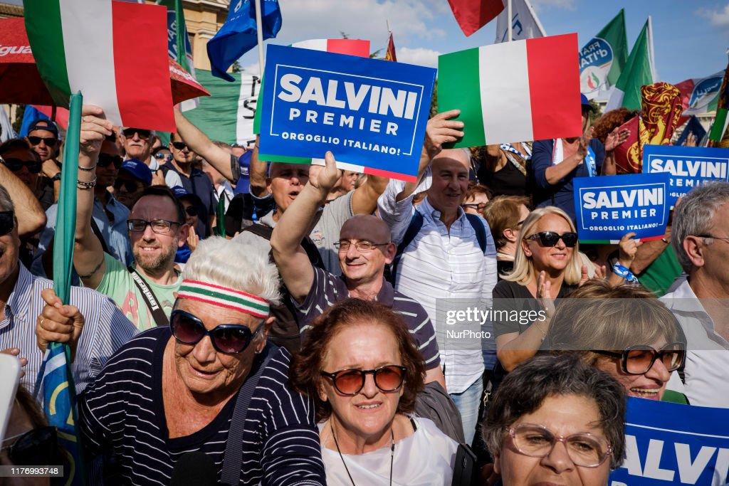 Lega Per Salvini Premier Hold ''Italian Pride'' Demonstration : News Photo