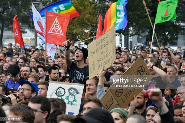 """People gather for a """"We Are More"""" concert to say 'No' to the far right on September 3, 2018 in Chemnitz, eastern Germany, - A free concert with..."""