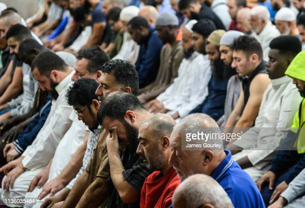 People gather for morning prayers at Lakemba Mosque in the suburb Lakemba on March 16 2019 in Sydney Australia 49 people are confirmed dead and...