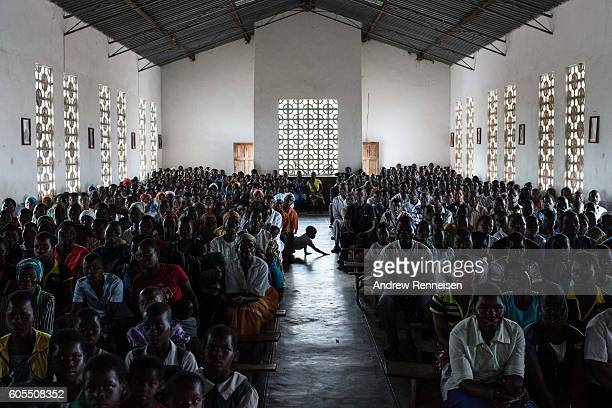 People gather for Sunday service at Mofolo Woyera church in the village of Mulele which lies in one of the areas most affected by drought on...