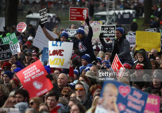 People gather for the 47th March For Life rally on the National Mall where US President Donald Trump addressed the crowd January 24 2019 in...
