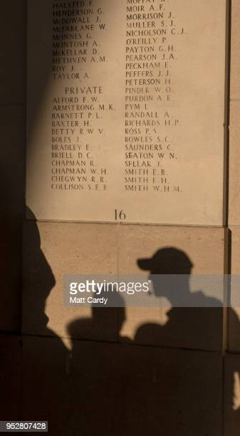 People gather for the Last Post ceremony at the Menin Gate on April 20, 2018 in Ypres, Belgium. The Menin Gate Memorial is dedicated to the British...