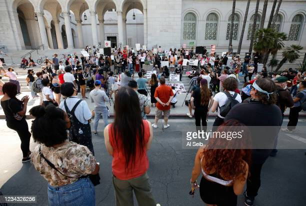 People gather for The Right to REST without ARREST Rally and Press Conference on the steps of Los Angeles City Hall Wednesday organized by homeless...