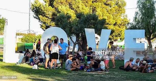 People gather for the Rototom Sunsplash European Reggae Festival in Benicassim Castellon province on August 13 2016 The Rototom Sunsplash European...