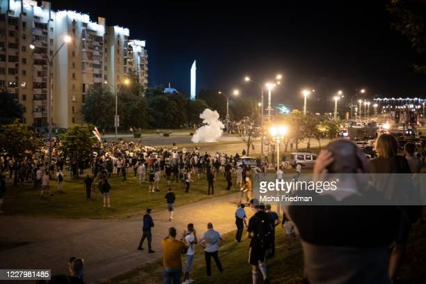People gather in a protest against Belarus President Alexander Lukashenko's claim of a landslide victory on August 9 2020 in Minsk Belarus President...