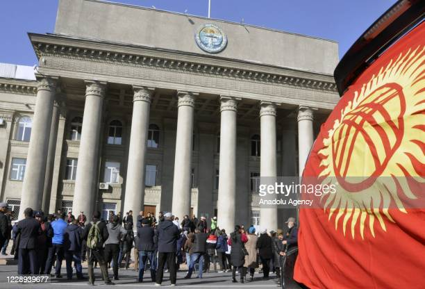 People gather in front of the Prime Ministry building as they continue to stage demonstrations after freeing Sadyr Zhaparov yesterday, who lawmakers...