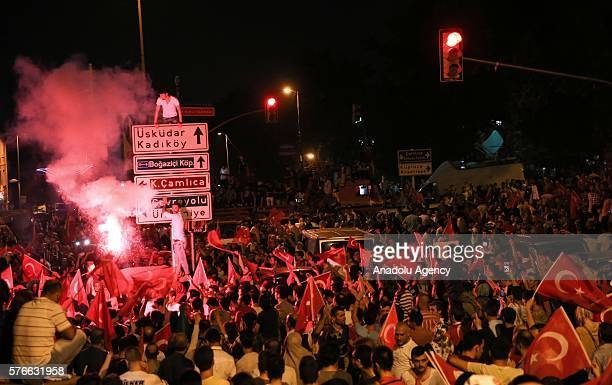 People gather in front of Turkish President Recep Tayyip Erdogan's residence at Kisikli Neighborhood in Istanbul Turkey on July 17 2016 to protest...