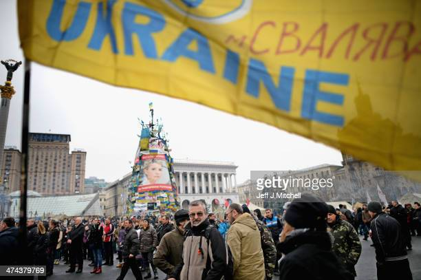 People gather in independence square on February 23 2014 in Kiev Ukraine Prime Minister Yanukovych is said to have left Kiev for a eastern stronghold...