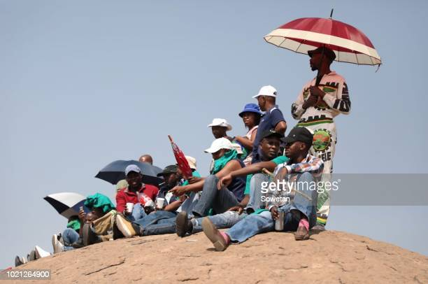 People gather in Marikana to observe the sixth anniversary of the Marikana massacre on August 16, 2018 in Rustenburg, South Africa. On August 16 34...