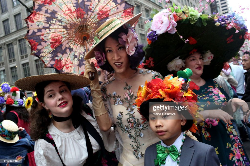 NY: New Yorkers Don Their Wildest Hats For Annual Easter Bonnet Parade Down Fifth Avenue