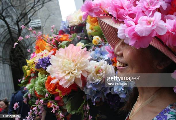 People gather in Midtown East for the annual Easter Parade on April 21 2019 in New York City Each year New Yorkers put on their most creative hats...