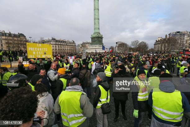People gather in place de la Bastille in Paris on January 12 2019 during antigovernment demonstration called by the Yellow Vest quotGilets Jaunesquot...