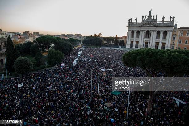 "People gather in St. John at the Lateran Square for a demonstration of the ""Sardines"", an Italian grass-roots movement against right-wing..."