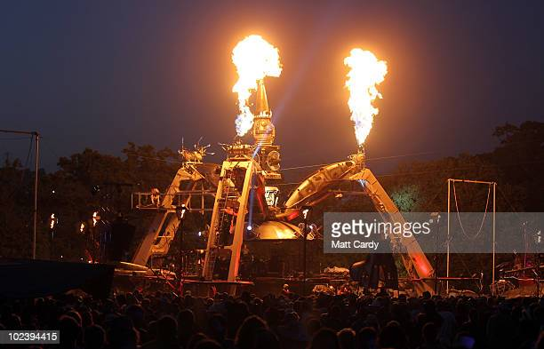 People gather in the Arcadia Field at the Glastonbury Festival site at Worthy Farm Pilton on June 24 2010 in Glastonbury England The gates opened...