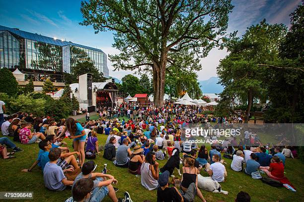 People gather near the Auditorium Stravinski during the 49th Montreux Jazz Festival in Montreux Switzerland on July 3 2015
